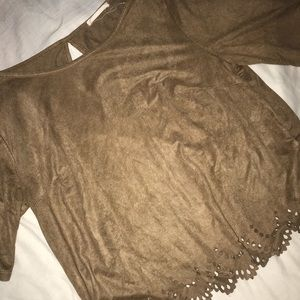 Tops - Brown suede quarter sleeve blouse